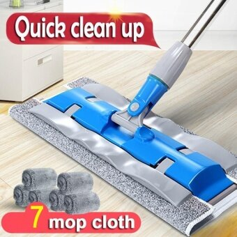 HappyLife Household Cleaning Tools Floor Flat Mop (7 MopsCloth)-Blue