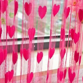 Heart-shaped Wedding Curtain Decoration Curtain Line Curtain - RoseRed - intl