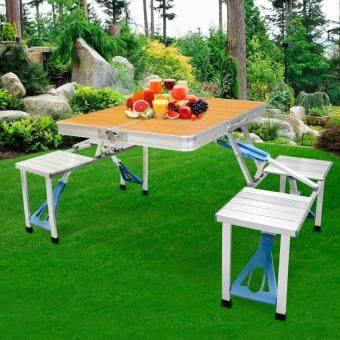 HHsociety โต๊ะเก้าอี้ปิคนิคพับได้อลูมิเนียม ลายไม้ (สีน้ำตาล)