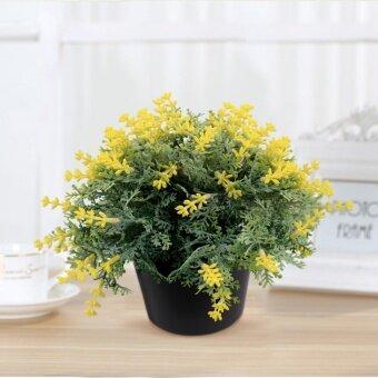 HHsociety พุ่มดอกไม้ปลอม ประดับตกแต่งบ้าน (สีเหลือง)