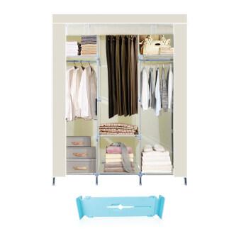 HHsociety ตู้เสื้อผ้าพร้อมผ้าคลุม รุ่น 28127-3-3(สีครีม)+ที่แบ่งช่องลิ้นชักปรับขยายได้ (สีฟ้า)