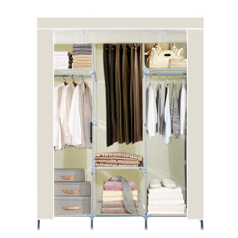 HHsociety ตู้เสื้อผ้าพร้อมผ้าคลุม รุ่น 28127-3-3(สีครีม)+ที่แบ่งช่องลิ้นชักปรับขยายได้ (สีฟ้า) รีวิว