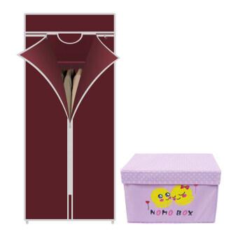 HHsociety ตู้เสื้อผ้า Quality Wardrobe ซิปเดียว –สีแดง+กระเป๋าจัดเก็บของอเนกประสงค์ลาย NoMo Box (สีชมพู)