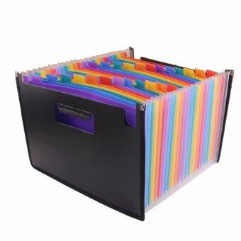 High Capacity Multicolour Stand Expandable Portable Accordion A4File Folder Document Wallet Briefcase Plastic Business FileOrganizer Bag 24 Pockets - intl