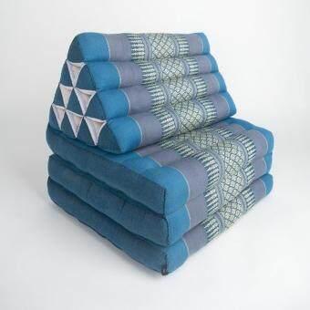 หมอนอิงพร้อมเบาะนอน หมอนพิง หมอนสามเหลี่ยม 10 ช่อง 3 พับ สีฟ้า ขนาด 170x55x36 cm.