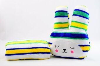 หมอนผ้าห่มCraft กระต่ายแก้มแดง ลายขวางสลับสีโทนน้ำเงินเขียวเหลือง