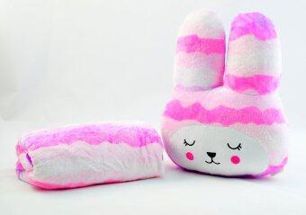 หมอนผ้าห่มCraft กระต่ายแก้มแดง ลายลูกคลื่นสีแถบชมพูม่วงขาว