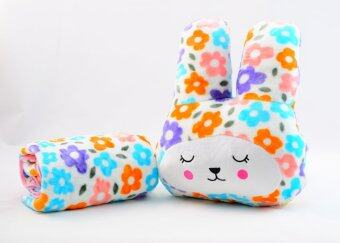 หมอนผ้าห่มCraft กระต่ายแก้มแดง สีขาวลายดอกไม้สดใส
