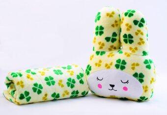หมอนผ้าห่มCraft กระต่ายแก้มแดง สีครีมลายลูกไม้สีเหลืองสลับเขียว