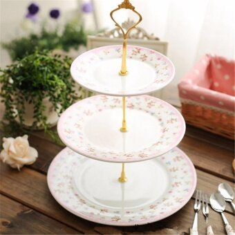 Home Living Cake Plates Stands 2 Or 3 Tier Crown Wedding PartyBirthday Cake Plates Stand Centre Handle Fitting Rod (Golden) -intl