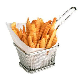 Hot Sale Chips Mini Fry Baskets Stainless Steel Fryer Basket Strainer Serving Food Presentation Cooking Tool French Fries Basket - intl - 2