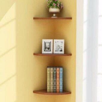ชั้นมุมวางหนังสือ DIY ดีไซน์สุดโมเดิร์น ตามความคิดสร้างสรรค์ 3ชั้น (สีน้ำตาลไม้อ่อน)