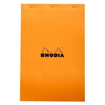 Rhodia - Head stapled pad สมุดโน๊ตแบบฉีกได้ ขนาด A 4 21 x 31.8 ซ.ม. รุ่น Bloc No.19 เนื้อกระดาษ 80 g กระดาษสีขาว มีเส้นแบบตาราง 5 x 5 มม. ปกสีส้ม
