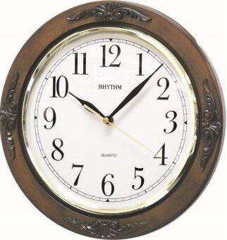 RHYTHM นาฬิกาแขวนไม้ รุ่น CMG938NR06 - Brown
