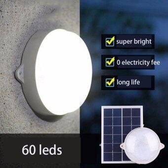โคมไฟซาลาเปาโซล่าเซลล์ ติดเพดาน-ผนัง 60LED 6W Supper Bright (แสงขาว)