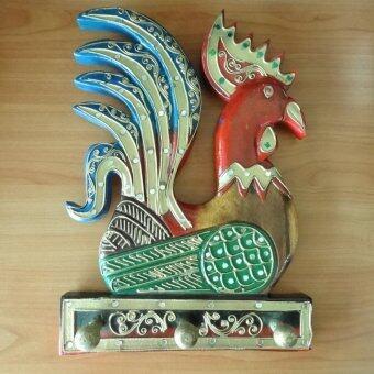 ไม้แขวนเสื้อ แขวนของ รูปไก่ (หางสีน้ำเงิน) ทำจากไม้ งานฝีมือ ตกแต่งห้อง
