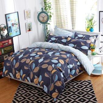 Lily ชุดผ้าปูที่นอน 6 ฟุต 5 ชิ้น + ผ้านวม เกรด A รุ่น PR050 - สีน้ำเงินเข้ม