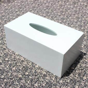 HPTJ กล่องใส่กระดาษทิชชู่ไม้ สีขาว เคลือบกันเชื้อรา ขนาดใหญ่
