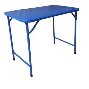 Asia โต๊ะพับหน้าเหล็ก T36 ขาสวิง 3 ฟุต สีฟ้า