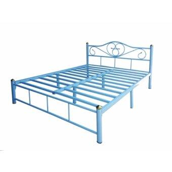 ISO เตียงเหล็กอย่างดี 6ฟุต รุ่น LOTUS ขา2นิ้ว สีฟ้า