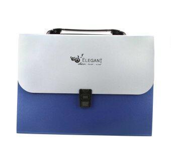 คนหญิง 12 กระเป๋า A4 นัดหมายจากโฟลเดอร์ไฟล์เอกสารสำนักงานกระดาษถือกระเป๋าสตางค์กระเป๋าธนบัตรกระเป๋าเอกสารงาน Strored สีน้ำเงิน