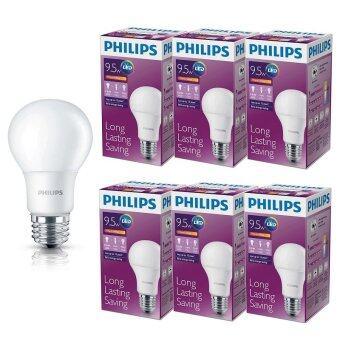 Philips หลอด LED BULB 9.5 วัตต์ ขั่ว E27 แสงวอร์ไวท์ (6 ดวง)