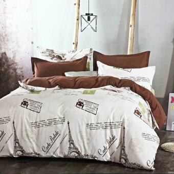 Lily ผ้าปูที่นอน 6 ฟุต 5 ชิ้น + ผ้านวม เกรด A รุ่น CT012 - Paris
