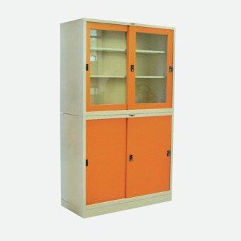 RF Furniture ตู้เอกสารเหล็กบานเลื่อน2ชั้นบน+ล่าง ขนาด120ซม.รุ่น RF-4(สีส้ม/ครีม)