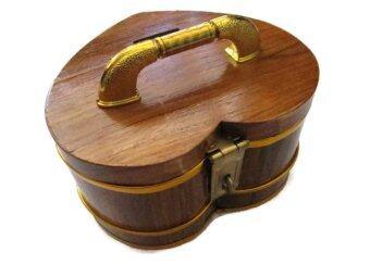 ถังเงิน ถังทอง กระปุกออมสิน ไม้สัก ทรงหัวใจ 5 นิ้ว