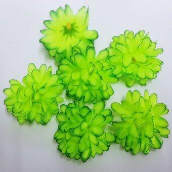 Dokpikul-หัวดอกมัม ดอกไม้ผ้า ประดิษฐ์ ขนาดเส้นผ่าศูนย์กลาง 5ซม.แพค 100ดอก -สีเขียวสะท้อน