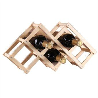 โต๊ะพับวางขวดไวน์ชั้นไม้หลักสำหรับ 6 ขวด (สีไม้)