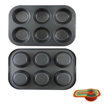 ถาดอบมัฟฟินคัพเค้ก 6 หลุม กว้าง 9 ซม. 2 ถาด + ชุดถ้วยและช้อนตวง