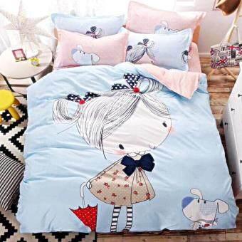 Array Shop ชุดผ้าปูที่นอน 6 ฟุต พร้อมผ้านวม 5 ชิ้น ลายเด็กหญิงกับตูบน้อย(6 ฟุต)(6 ฟุต)(6 ฟุต)