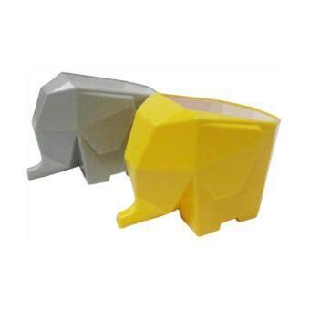 ช้างไล่น้ำเอนกประสงค์ รุ่น 1205 แพ็ค 2 ชิ้น (สีเทา+สีเหลือง) ที่วางช้อนส้อม, ที่ใส่ช้อนส้อม, ที่คว่ำช้อนส้อม, ที่วางแปรงสีฟัน, ที่วางดินสอปากกา