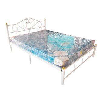 ISO เตียงเหล็ก 5ฟุต ขา2นิ้ว รุ่นโลตัส + ที่นอนโฟมเสริมฟองน้ำ 5 ฟุต หนา6นิ้ว รุ่นLatte