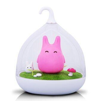 โคมไฟ โคมไฟกระต่าย โคมไฟระบบสัมผัสแบบในโหลแก้ว (สีชมพู)