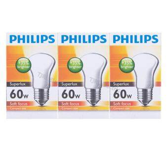 Philips แพ็คหลอดไส้ รุ่น Superlux 60W E27 ใส x 3 หลอด