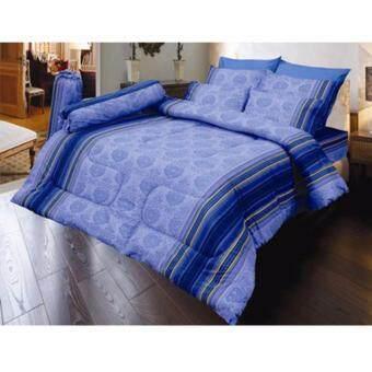 Satin ซาตินผ้าปูสีฟ้า 6 ฟุต ทั้งหมด 5 ชิ้น - D34