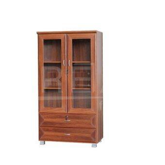 RF Furniture ตู้เอนกประสงค์ ทั้งเก็บเอกสาร และ โชว์ของรุ่น FL0802 ( สีสักคลาสสิค )