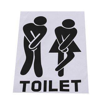 ป้ายติดหน้าประตูห้องน้ำตลกสติ๊กเกอร์การตกแต่งห้องน้ำสีดำ