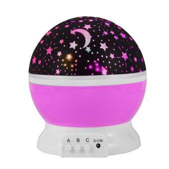 โคมไฟStarry Night Light Romantic Colorful LED Star Moon Sky Rotating Projector?สีชมพู)