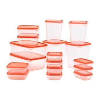 FIN-FIN ชุดกล่องอาหาร 17 ชิ้น, ใส, สีส้ม