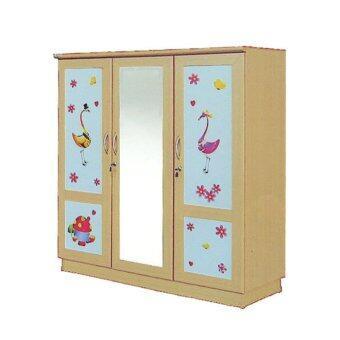 RF Furniture ตู้เสื้อผ้าเด็ก 120 cm 3ประตูกระจกกลาง รุ่น WR120MG ( สีบีชลายการ์ตูนน่ารัก )