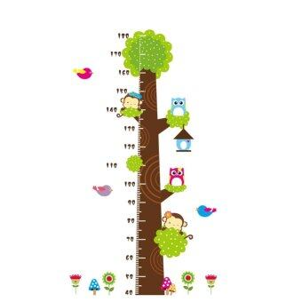 TGhome Wall Sticker วัดส่วนสูง ลายนกฮูกและลิงน้อย