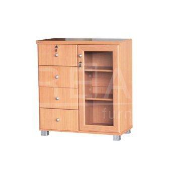 RF Furniture ตู้เอนกประสงค์ประตู+ลิ้นชัก รุ่น FL0805 ( สีบีช/ขาว )