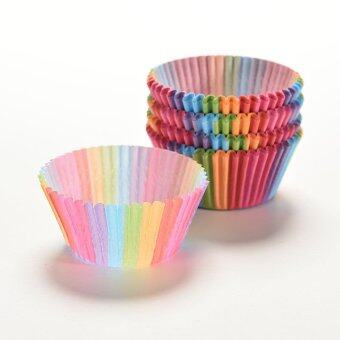 Harga 4ever 100pcs Liner Paper Rainbow Baking Cupcake Cake Mold Decor Tools