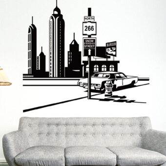 Harga Wall Decorative PVC Removable Wall Stickers (Black-5)