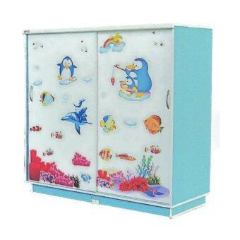RF Furniture ตู้เสื้อผ้าเด็ก 120 cm บานเลื่อน รุ่น WR120SL ( สีฟ้าลายการ์ตูนน่ารัก )