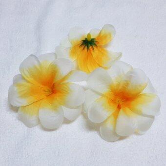 Dokpikul หัวดอกลีลาวดีปลอม ดอกไม้ผ้าประดิษฐ์ ดอกลีลาวดี สีขาวกลางส้ม 7.5ซม. แพ็ค100ดอก