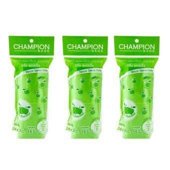 Champion ถุงขยะแบบม้วน กลิ่นแอปเปิล 24x28 นิ้้ว 15ใบ (3 แพ็ค)